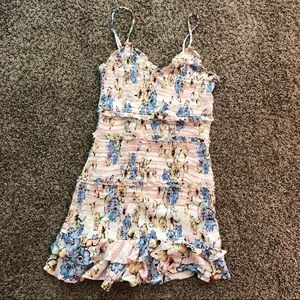 Olivaceous shirred floral mini dress